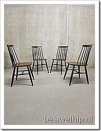 Vintage houten spijlenstoelen Deense stijl | Bestwelhip