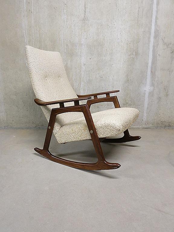 Deense schommelstoel vintage design lounge stoel, Danish rocking ...