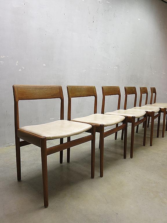Deense vintage design eetkamerstoelen, Danish mid century vintage design dinner chairs   Bestwelhip