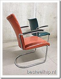 Originele vintage Gispen de wit buisframe stoelen