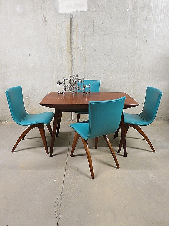 Vintage eetkamer stoelen dinner chairs J. van Os Dutch design ...