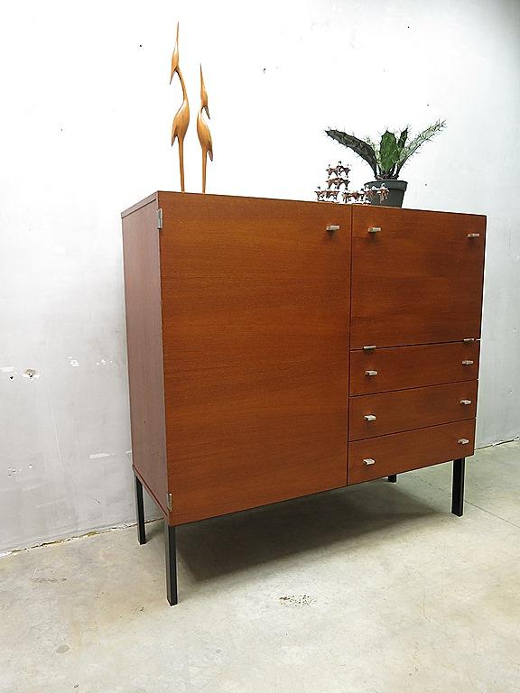 Mid century vintage design secretaire cabinet pierre guariche meurop wandkast - Kantoor guariche ...