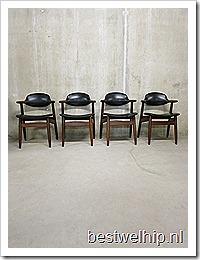 Vintage koehoorn stoelen Tijsseling Dutch design
