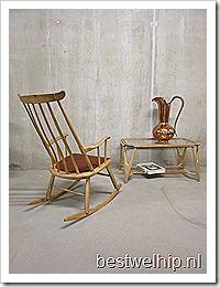 Deense houten schommelstoel rocking chair Danish