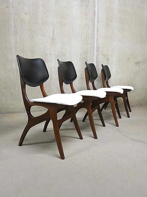 Vintage eetkamer stoelen Webe Louis van Teeffelen dining chairs   Bestwelhip