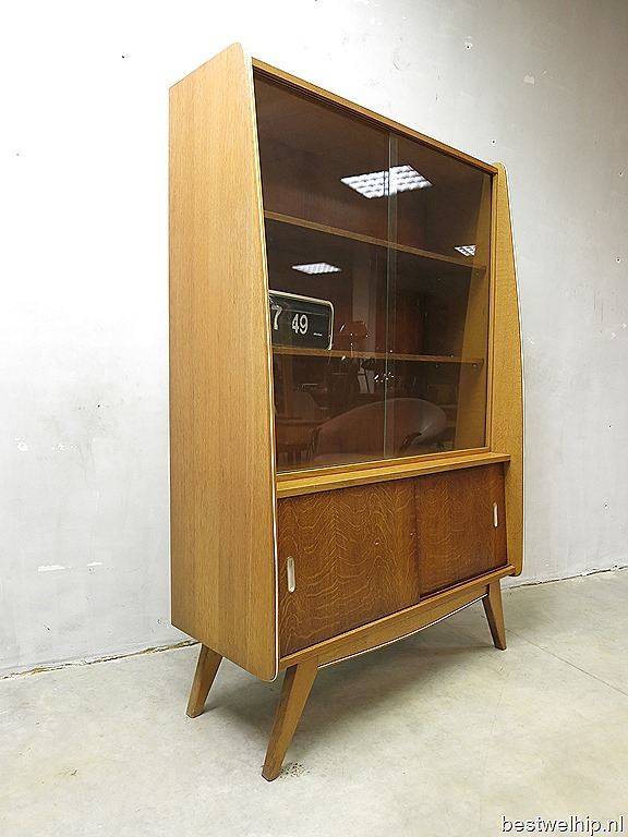 mid century design wandkast vitrine kast vintage cabinet. Black Bedroom Furniture Sets. Home Design Ideas