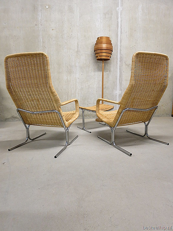 Dirk van sliedrecht vintage rotan fauteuil chair ottoman bestwelhip - Pouf eigentijds ontwerp ...