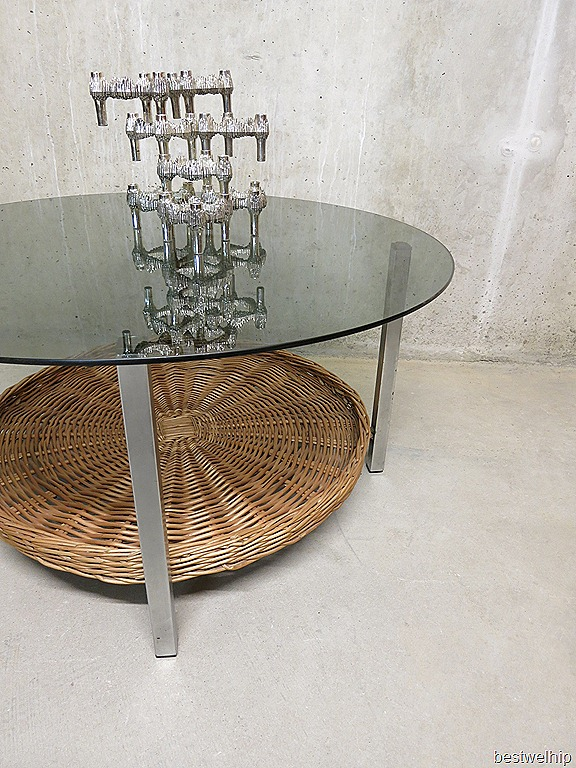 retro vintage salontafel rond industrieel coffee table