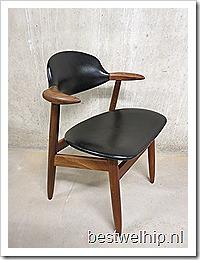 Vintage koehoorn stoel Tijsseling Dutch design cowhorn chair