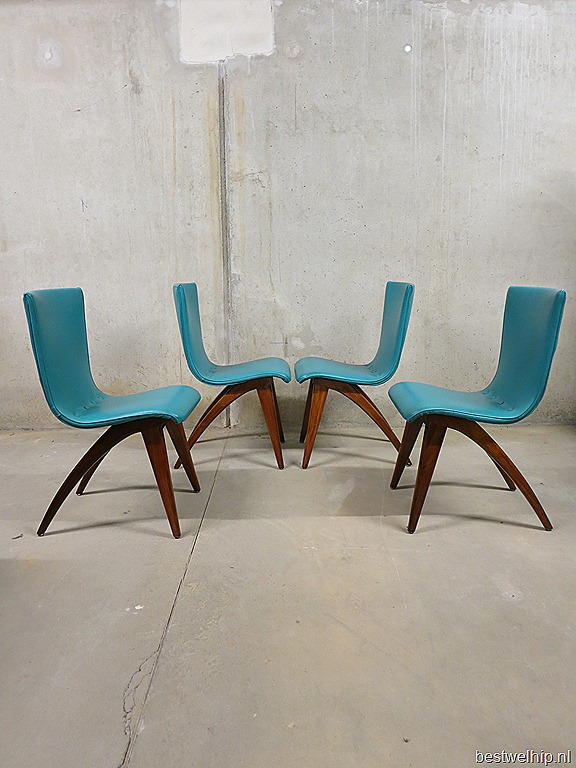Vintage retro eetkamer stoelen dinner chairs J. van Os Dutch design