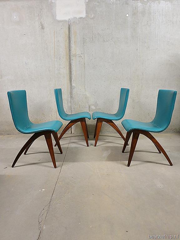Vintage eetkamer stoelen dinner chairs j van os dutch for Dutch design eetkamerstoelen