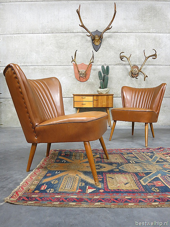 Vintage clubfauteuils cocktail chairs camel fifties bestwelhip - Stoel leer rock bobois ...