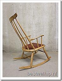 Deense houten schommelstoel rocking chair Danish mid century design retro