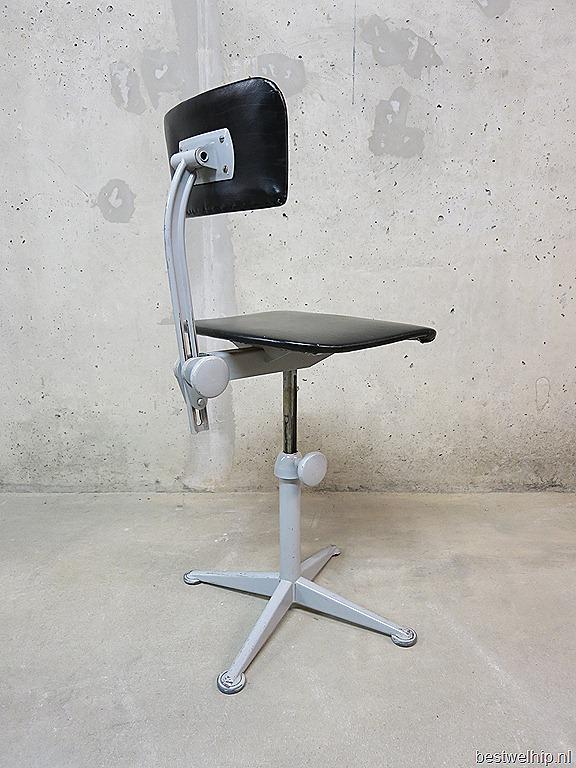 Vintage industrial desk chairs vintage bureaustoelen for Bureaustoel vintage