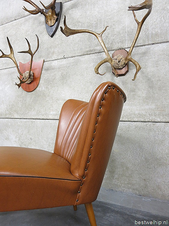 Vintage clubfauteuils cocktail chairs camel fifties - Stoel leer rock bobois ...