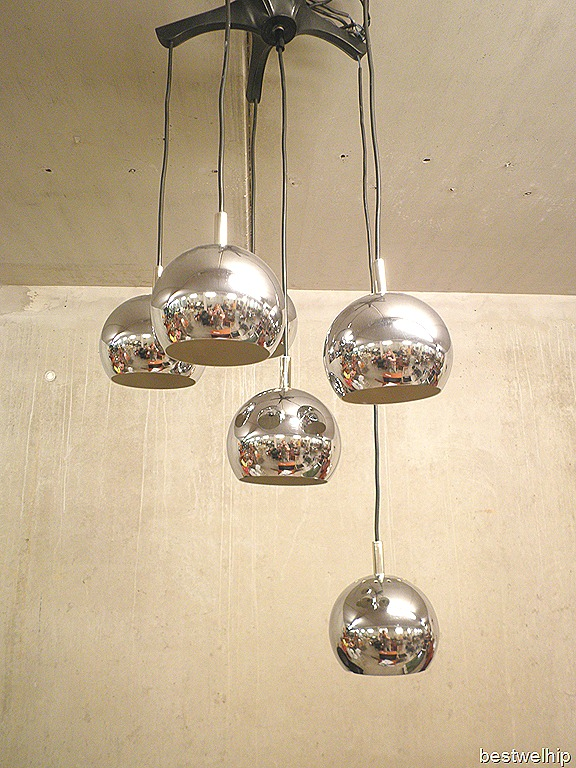 Vintage hanglamp chromen bollen, Pendant chrome spheres  Bestwelhip