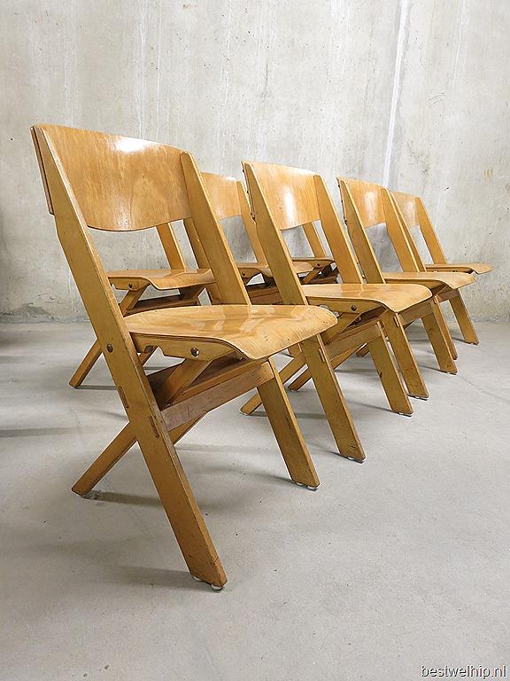 Vintage Houten Klapstoelen Wooden Folding Chairs