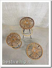 Vintage design kruk rotan Rohe/ rattan stool Rohe Mid century design