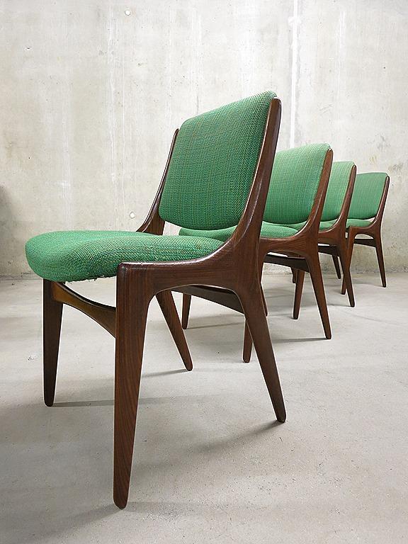 Mid century vintage design dinner chairs, vintage design eetkamerstoelen Deense stijl   Bestwelhip