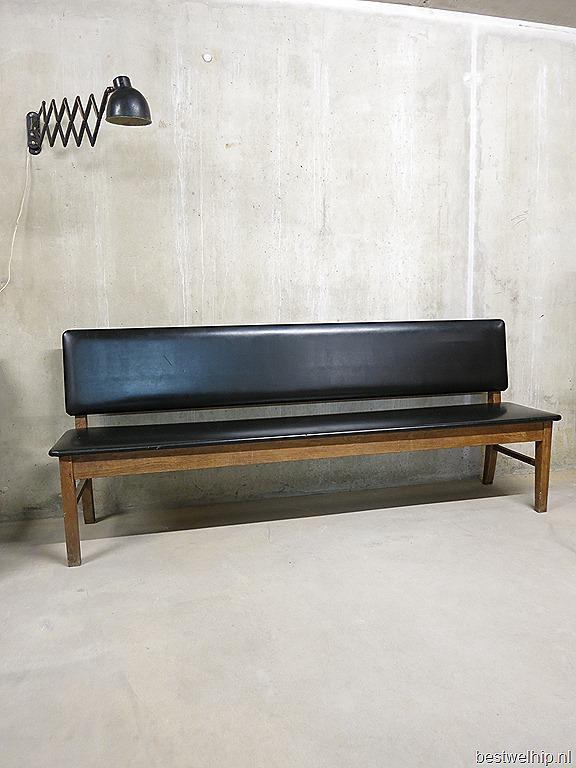 vintage eettafel bank wachtkamer bank industrieel, wooden bench sofa ...