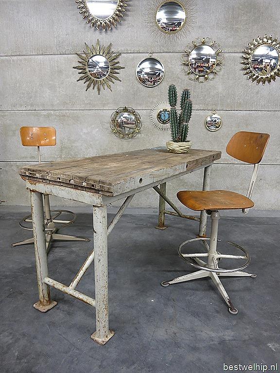 Werkbank tafel industrieel bureau desk table side table industrial ...
