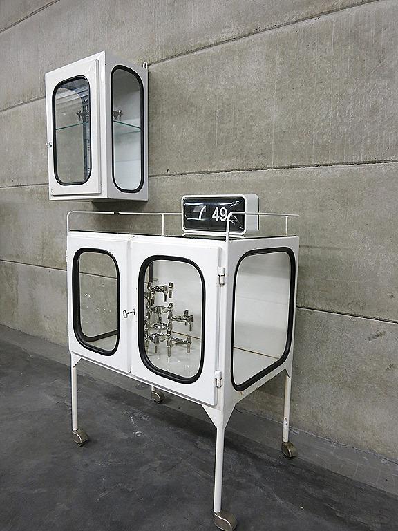 Vintage Vitrine Kast Trolley Industrieel Industrial Medical