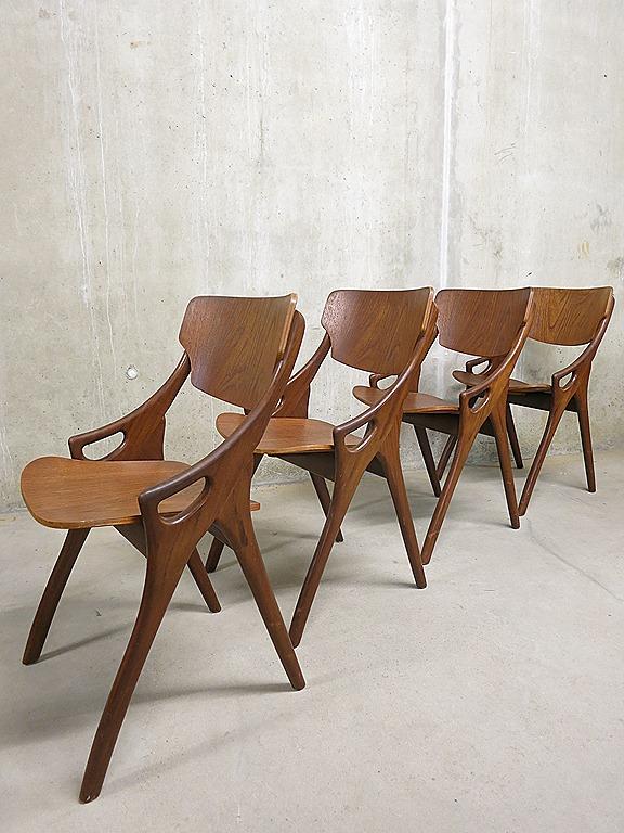 Deense vintage design H.Olsen eetkamer stoelen, Danish vintage chairs ...