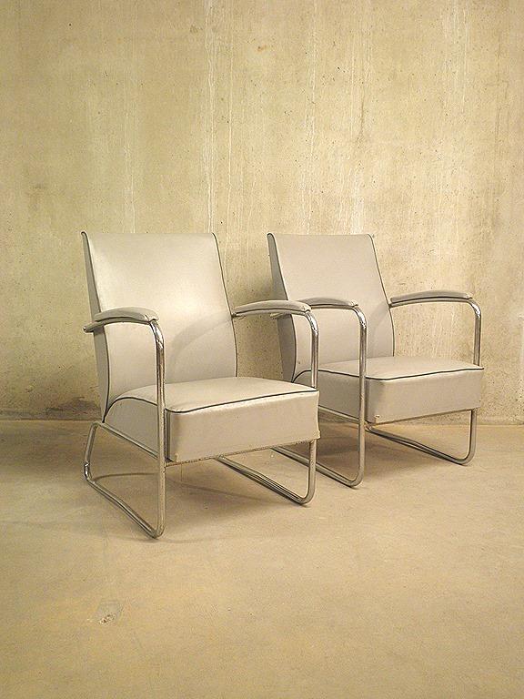 Chromen buizen fauteuil gispen stijl bestwelhip - Eigentijdse design lounge ...
