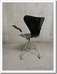 Vlinder Bureaustoel Arne Jacobsen.Vintage Design Bureaustoel Stoel Arne Jacobsen Fritz Hansen