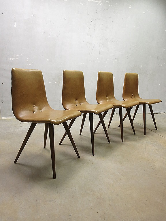 Vintage Dutch design dinner chairs eetkamer stoelen G.van Os ...