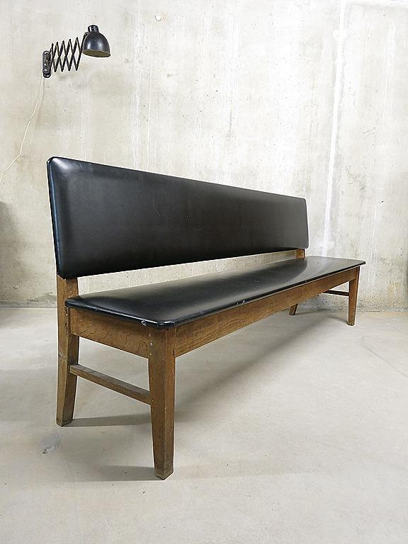 Idee houten bankje met rugleuning : vintage sofa industrial, vintage bank industrieel wachtkamer bank ...