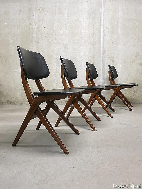 Webe vintage design eetkamer stoelen Louis van Teeffelen dinner ...