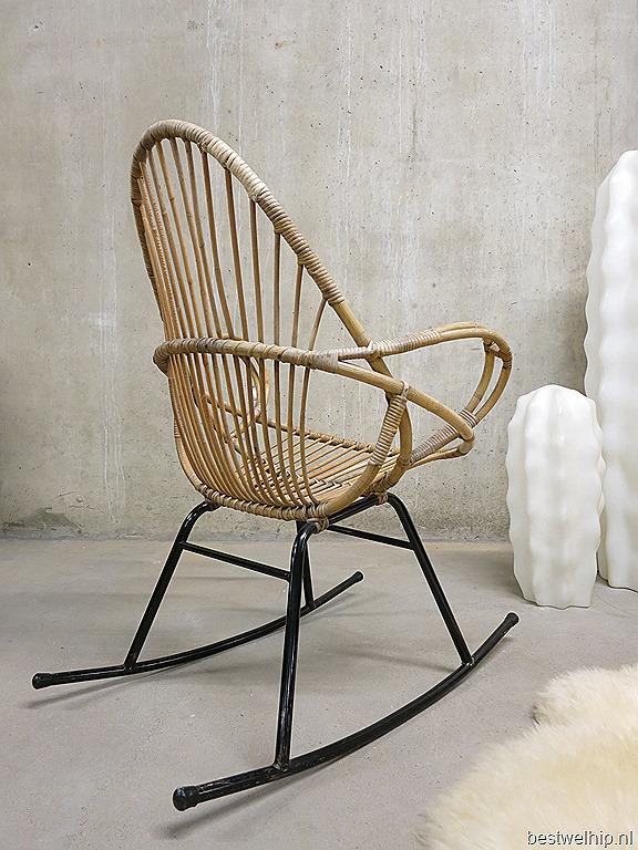 Schommelstoel Voor Op De Babykamer.Vintage Rotan Schommelstoel Rocking Chair Rohe Bestwelhip