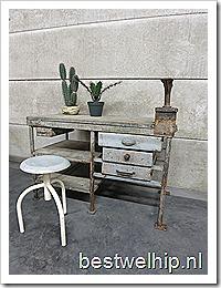 Werkbank tafel bureau industrieel desk Industrial vintage
