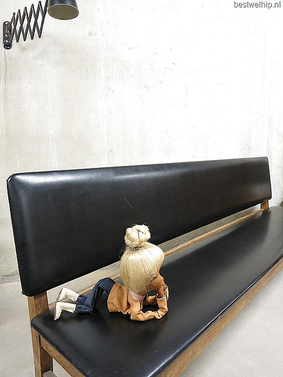 industriele houten bank skai leer lange bank voor aan eettafel vintage