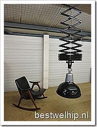 Verlicht….XXL vintage schaarlamp industrieel, vintage scissor lamp extra large industrial
