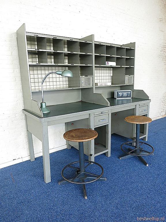 Vintage Stalen Postsorteerkast Bureau Industrieel Post Office Desk