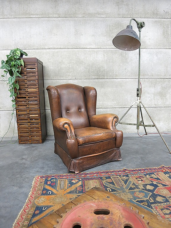 Vintage Leren Lounge Fauteuil Wingback Chair Leather