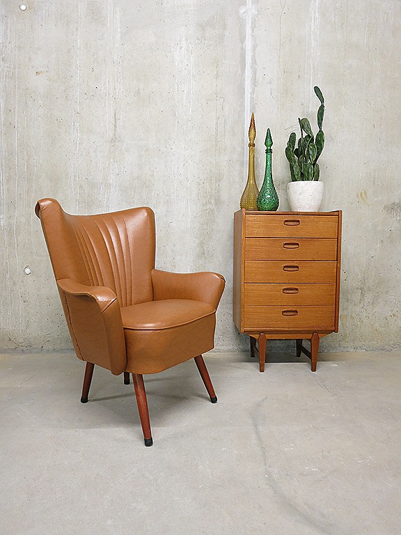 Cocktail Stoel Met Leuning.Vintage Skai Leren Clubfauteuil Cocktail Chair Artifort Bestwelhip