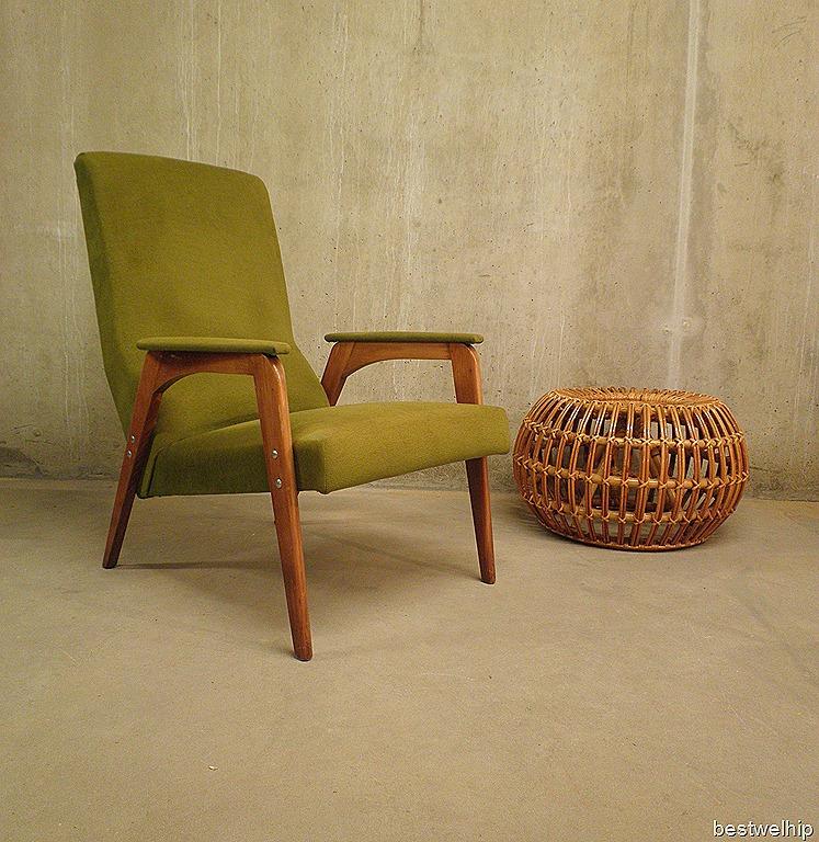 vintage design lounge fauteuil grasgroen bestwelhip