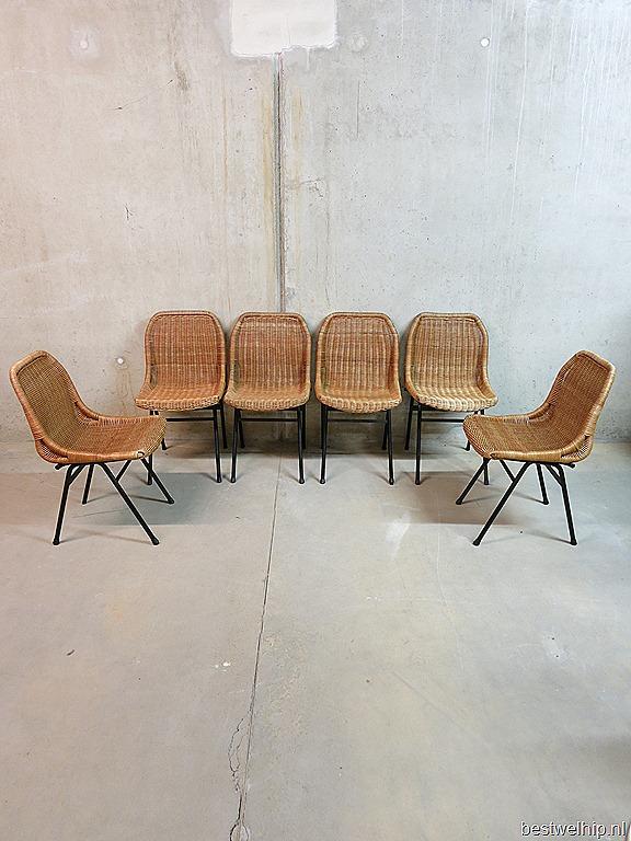 Vintage design eetkamerstoelen Rohe Noordwolde Dutch design rattan ...