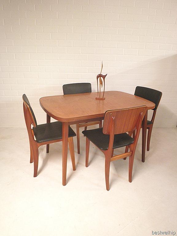 vintage dining set danish style, vintage eetkamerset deense stijl
