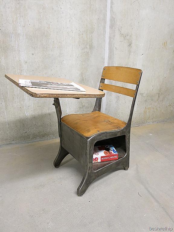 Vintage stoel schoolbank industrieel, old school desk chair