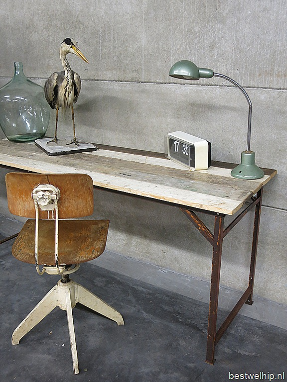 Vintage Industriele Tafel.Industriele Tafel Bureau Vintage Sidetable Industrial Bestwelhip