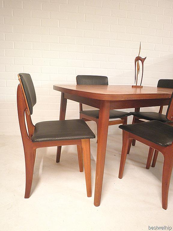 vintage retro houten eetkamer set skai leer, vintage dining set mid ...