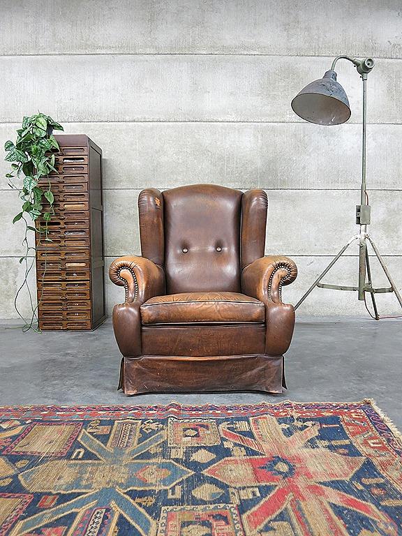 Leren Lounge Fauteuil.Vintage Leren Lounge Fauteuil Wingback Chair Leather Bestwelhip