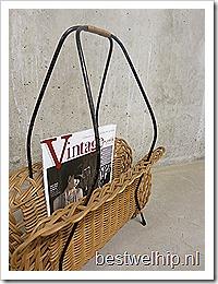 Vintage lectuurbak rotan / rattan magazine holder