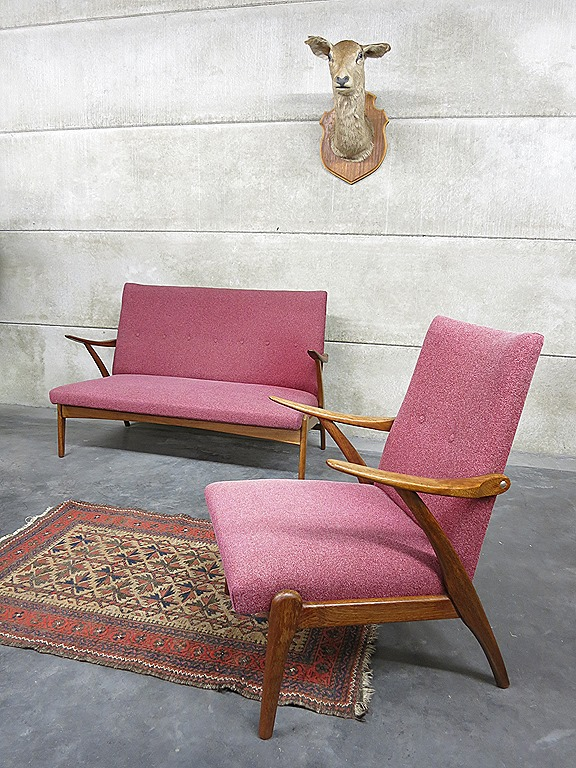 Design Bank En Fauteuil.Mid Century Design Lounge Set Seating Group Vintage Design Lounge