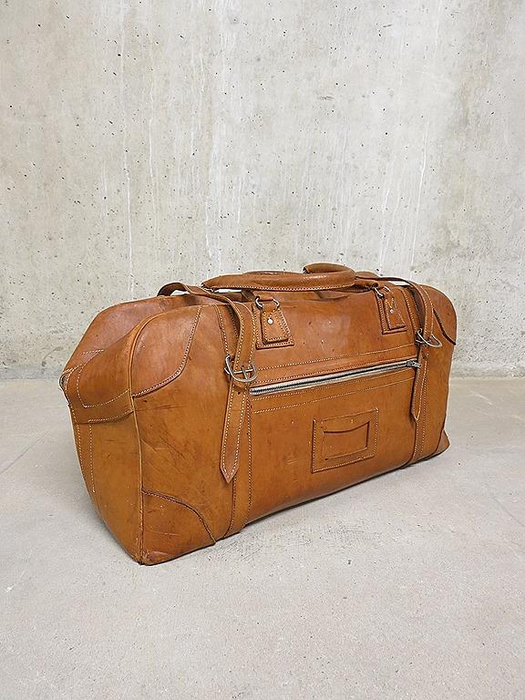 Vintage Tuigleren Weekendtas Travel Bag Saddle Leather XL