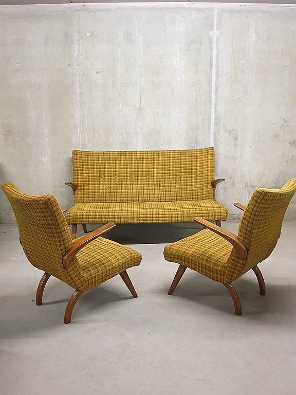 Vintage Bank Met 2 Fauteuils.Mid Century Vintage Design Seating Group Lounge Bank Sofa